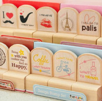 Wholesale 1 set DIY Wooden Vintage Eiffel Tower Stamp Set for Diary Decoration Photo Album Scrapbooking Cute DIY funny work