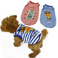 Wholesale Anchor Stripe Cute Summer Dog T shirt Summer Pet Cloth