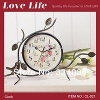antique garden tables - Garden style rural bird and flower iron silent clock retro art watch fashion table and desk clock CL