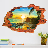 beach sea glass - sea beach through the wall stickers bedroom decorations D home decals pvc pastoral mural art scenery poster home decoration
