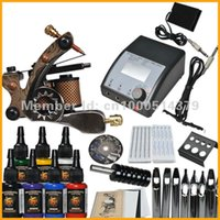 Wholesale Complete Tattoo Kit Machine Gun Color Inks Power Supply Needles