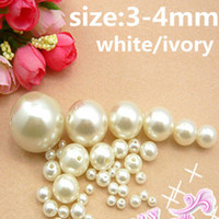 Wholesale Hole Beads White and Ivory mm mm Round Beads with Hole High ShineABS Resin Beads Imitation Pearls