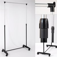 Wholesale US stock cloth hanger Metal tube with powder coated finish PP base simple cloth hanger racks
