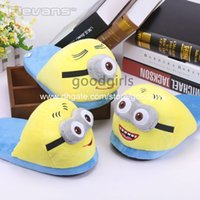 house shoes - Anime Cartoon Despicable Me Minions Plush Shoes Home House Winter Slippers for Children Women Men Kids Slippers ANSE049