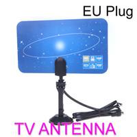 Wholesale Digital Indoor TV Antenna HDTV DTV HD VHF UHF Flat Design High Gain EU Plug