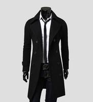 Wholesale NewFashion Stylish Men s Trench Coat Winter Jacket Double Breasted Coat Overcoat woolen Outerwear Long jaqueta M XXXL
