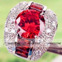 Wholesale 2015 New In Stock Cheap Wonderful Lady Jewel Cluster Finger Ring Garnet White Topaz Gemstones K Size White Gold Plated Ring
