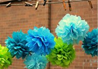 Wholesale 6 inch Handmade Colors Tissue Paper Flowers pom poms balls lanterns Party Decor For Wedding Decoration piece bag ZHD017