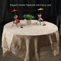 lace tablecloth - Luxury Square cm Elegant Chenille Table cloth With Fancy Lace Solid Color Beige TableCloth Linen Overlay Covers