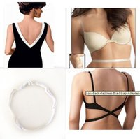 Wholesale Sexy Adjustable Low Back Bra Strap Magic Bra Strap Low Back Converter Backless V Conversion Solution Extender Non trace straps DHL Free