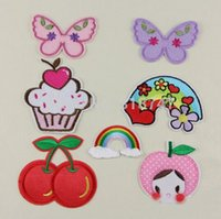 Wholesale 3 cm Rainbow Cherry Butterfly Apple Patch Children s Clothing Accessories