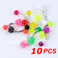 Wholesale Dice Navel Rings Barbell Belly Button Piercing body Jewelry