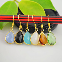 Wholesale Charms Pair Gold Plated Mixed Color Crystal Water Drop Dangle Earrings Jewelry Finding