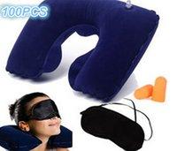 air aviation - three piece portable travel U shaped inflatable neck pillow travel pillow aviation picture air pillow goggles earplugs