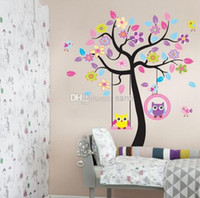 Wholesale Fashion Hot Flower Tree Owls Removable Wall sticker Decal Baby Nursery Wall Decor Kids Room