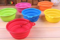 Wholesale Pet Dog Water Food Feeding Bowl Travel Folding Retractable Silicon Gel Bowl Green drinking water bowl