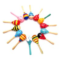 Wholesale Baby Toys Kids Wooden Rattle Music Instrument Sand Hammer Mini Cute Maracas Cabasa Orff Instrument Maracas Infant Toys Toddler Kids Toys