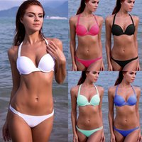 women athletic wear - 2015 Hot Sexy Women Swimsuit Multi straps Athletic Fitness Wears Swimsuit Push up Padded Swimwear Pure Color Simple Bathing suit