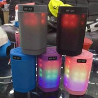 Wholesale LED Bluetooth Speakers LED Flashing Wireless Speakers HF Q7 Portable Audio Players DHL Colors