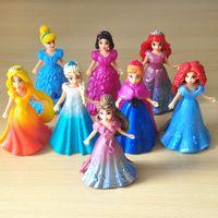 belle snow - magiclip Princess dolls frozen Toys action Figures Snow White Ariel toys Cinderella Aurora Belle Merida Rapunzel Elsa dresser
