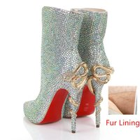 Wholesale Cheap Handmade Dress Shoes Bling Rhinestone Wedding Bridal Boots For Winter women fashion Red Bottom Snake Heels Pumps with Warm Fur Lining