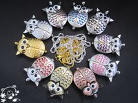 Wholesale Lovely Owl necklace Pocket Watches Jewelry Pendant Keychain quartz watch