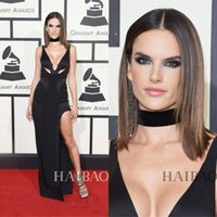 alessandra ambrosio - 2016 The th Grammy Awards Celebrity Dresses Red Carpet Alessandra Ambrosio Sexy Split Side Evening Gowns Sexy Black Deep V Neck Prom Party