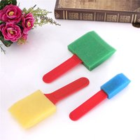 applied width - Colorful Foam Brushes Sponge Flat Plastic Handle Assorted Widths Applying Painting for excellent water retention