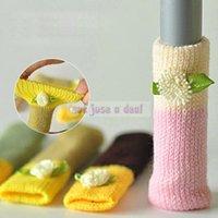 arm chair protectors - 1 Set Knitting Wool Floor Chair Table Desk Legs Cover Cushion Protector