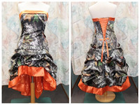 Wholesale 2015 Camo Wedding Dresses Gothic Knee length Orange New Designer Strapless A line Custom Made Plus Size High Low Wedding Dress Bridal Gowns