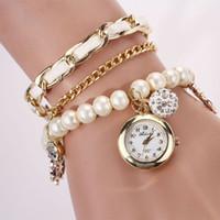 auto wholsale - Attractive Women Artificial Pearl Anchor Rudder Quartz Bracelet Wristwatch Watch Wholsale Dropshipping AG31