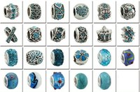 Wholesale Fashion Jewelry Sterling Silver European Beads Fits Charm pandora Bracelets necklaces pendants Batch Sale colors for Women