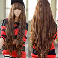 Wholesale New Fashion Womens Ladies Long Curly Wavy Hair Full Wigs Brown Cosplay Party Wig quot with Bangs
