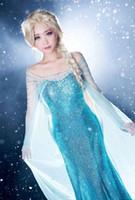 princess - Frozen Elsa Queen Princess Adult Women Evening Party Dress Costume Elsa Dresses DH04