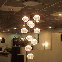 aluminum ball mounts - Large modern long staircase E14 round ball lights lights chandeliers hanging lamps Globle teto Glass lamp luminaire