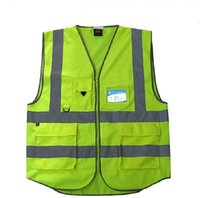 Wholesale Pockets High Visibility Adult Traffic Reflective Safety Vest Sanitation Worker Reflective Vests Fishing