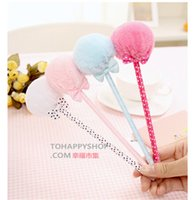 Wholesale 2015 Korean stationary Cute plush bow Fur Ball ballpoint pen gift pen