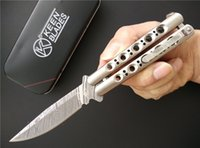 acid etching stainless steel - The one BM31 Balisong Knife quot Acid etched Plain Fake Damascus C Stainless steel Folding blade Pocket knives with nylon sheath