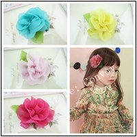 Wholesale baby girls Chiffon Flower Duck clip hairpin Barrettes children hair pin clips hairclips hair bows hair accessories Headband For Girls KFJ06