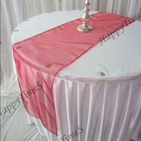 Wholesale 20pcs cm Red Crochet Organza Table Runner Wedding Decoraions