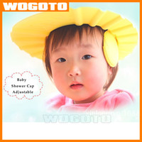 Wholesale 2016 Fashion Adjustable Baby Bath Shower Cap Hat Shampoo Wash Hair Shield Kids shampoo cap HQ Fast Ship DHL free