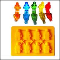 Wholesale Robot Figure FDA Silicone Ice Cube Tray mold Lego Shaped LFGB DIY Chocolate Cake Ice Cream maker Tools