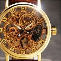 Wholesale 2 Side Transparent Ultra Thin Watches For Mens Watches Men Luxury Brand Gold Mechanical Skeleton Watch Men Wristwatch Male Watch