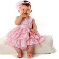 Summer cotton dress materials - Pink Little Girls Dresses with Bow Sleeveless Summer Childrens Cake Dresses Tulle and Cotton Blends Material Hot Sale SV000592