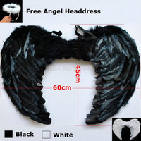 adult kid costume - 151020 Large cm Feather White Black Halloween Sexy Dark fallen Angel wings costumes with Headdress for adult women kids nightclub