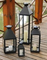 Wholesale Factory direct black classic simplicity lantern lantern large large floor windproof candle holders courtyard home