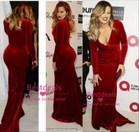Wholesale 2015 Custom made red velvet sheath evening dresses V neck long sleeves sweep train red carpet celebrity dresses long prom gowns BO2101