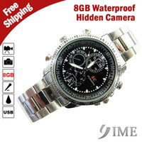 Wholesale new Spy SC waterproof Watch Hidden Camera with silver metal bracelets built in GB GB GB GB memory only plastic bag