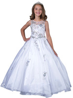 Wholesale 2016 New Little Girls Pageant Dresses Custom Made Beads White Holy Communion Ball Gowns Kids Party Princess Dress