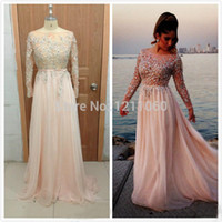 Cheap Model Pictures Beaded Long Sleeve Best A-Line Jewel Chiffon Evening Dress